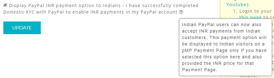 enable paypal inr payments option