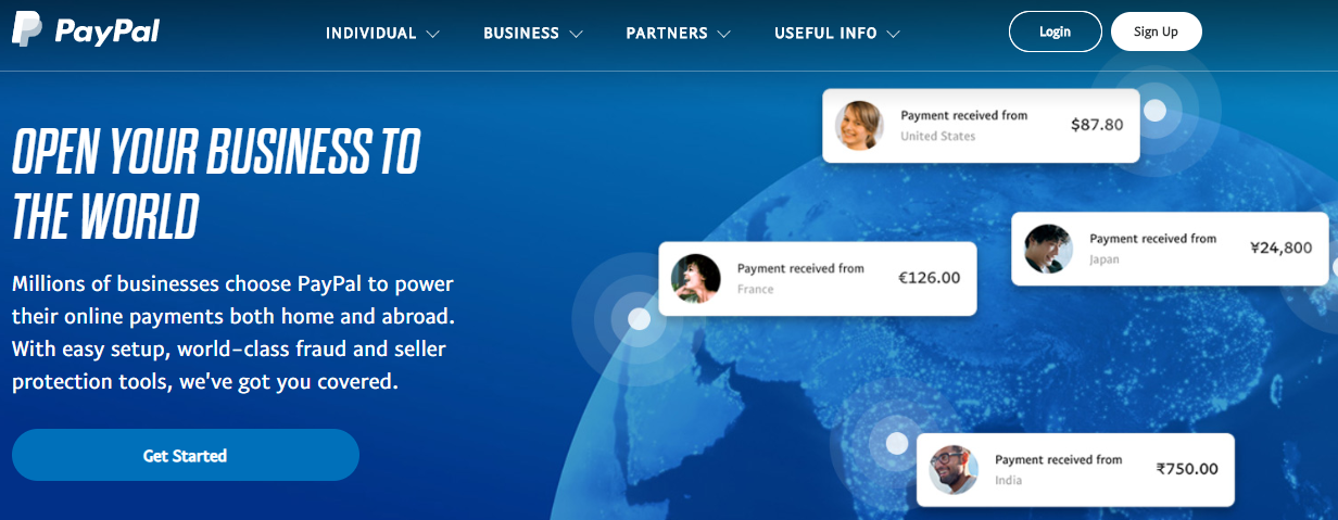 hero image with paypal logo